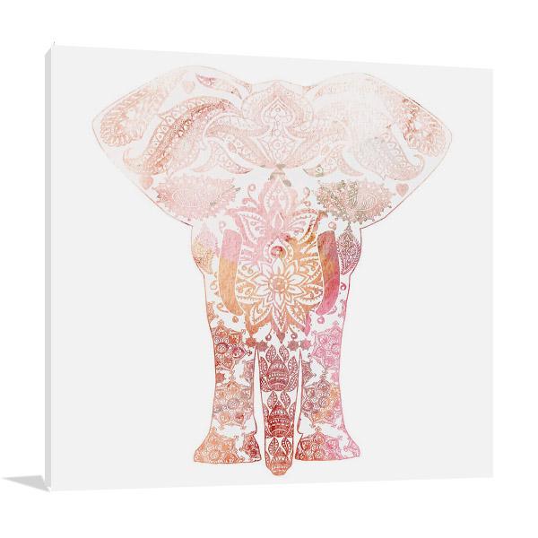 Pink Mandala Elephant Print Canvas