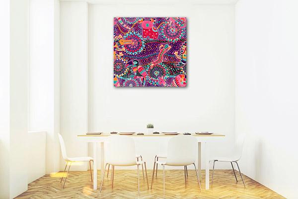 Pink Purple Animals Prints Canvas