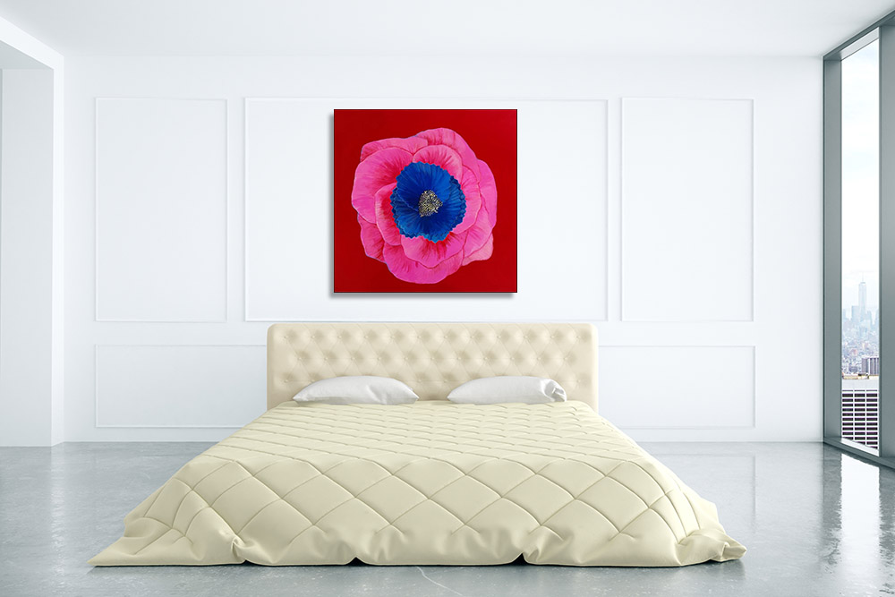 Pink Floral Print on Canvas