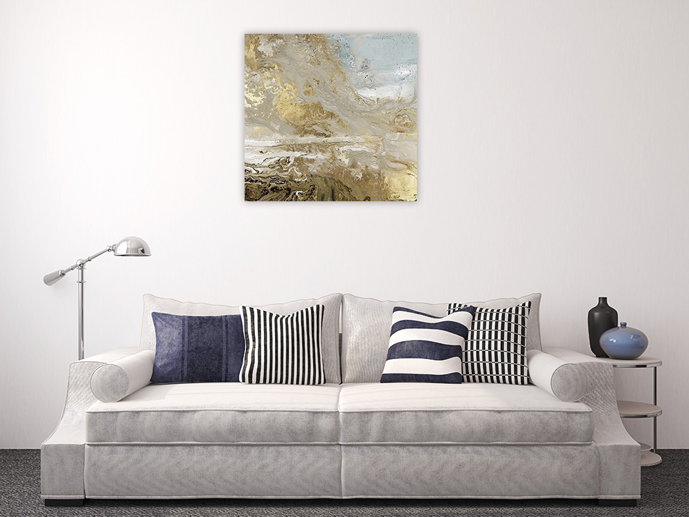 Gold Silver Art Print on Canvas