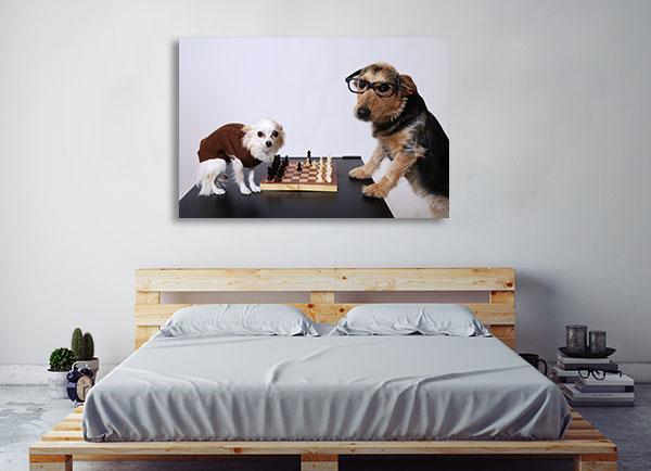 Playing Chess Canvas Art Prints
