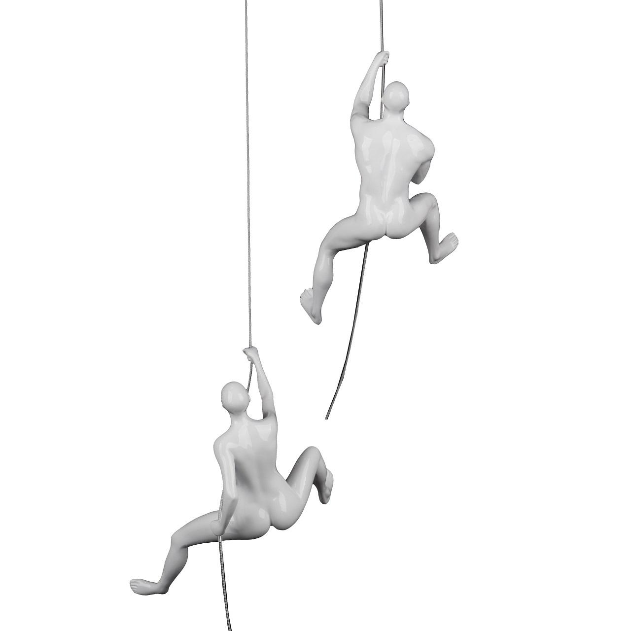 Poly Resin Climbing Couple D White