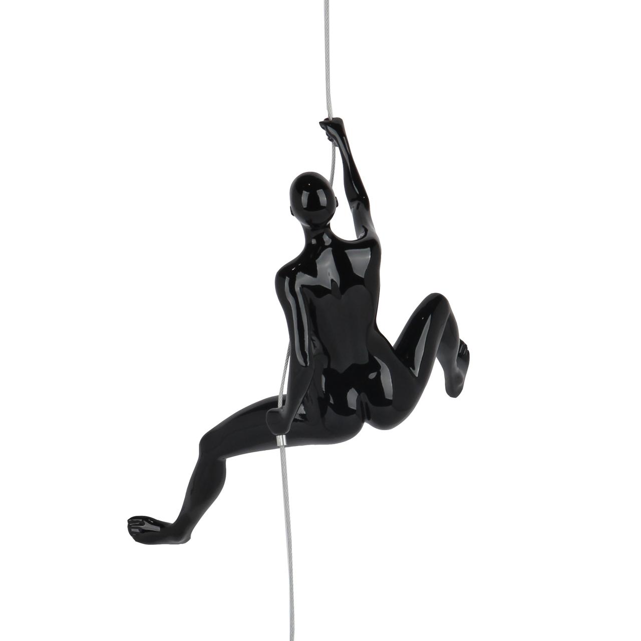 Poly Resin Climbing Woman D Black Gloss