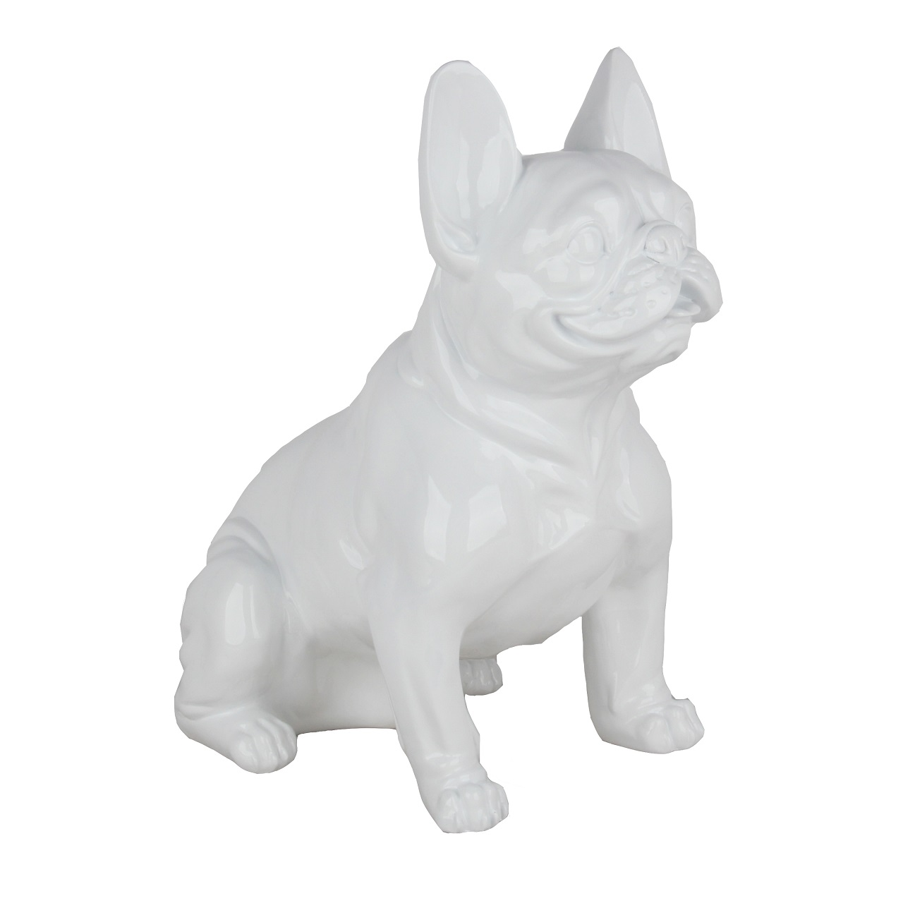 Poly Resin French Bulldog Sitting White