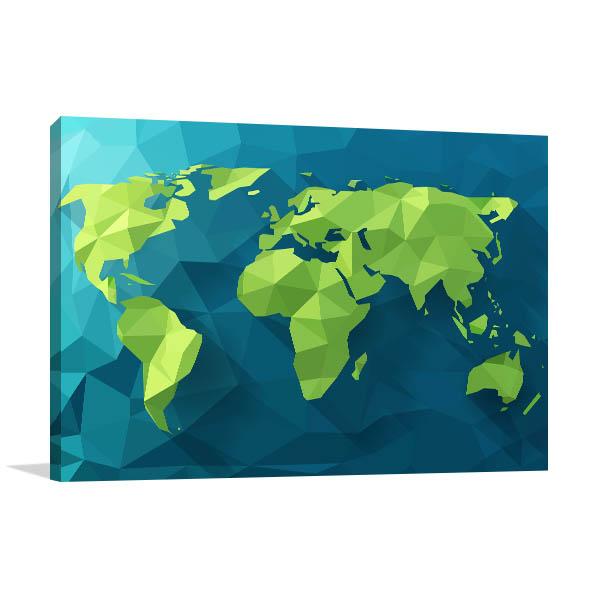 Polygonal World Map Art Prints