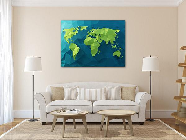 Polygonal World Map Prints Canvas