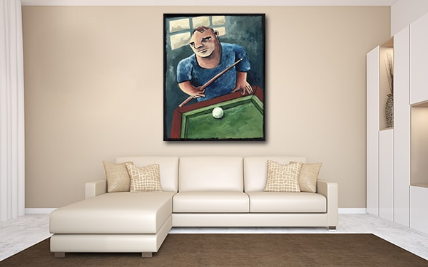 Pool Player Artwork on the wall