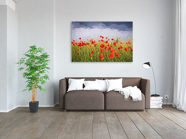 Poppies In Storm Prints Canvas