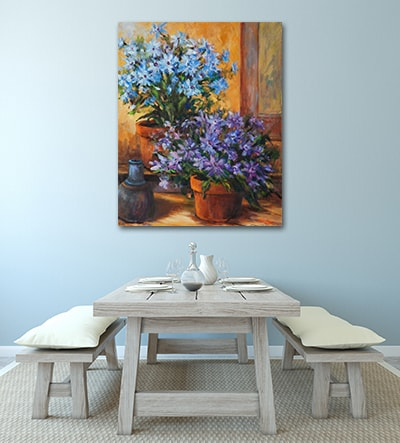 Potted Flowers Art Print on the Wall