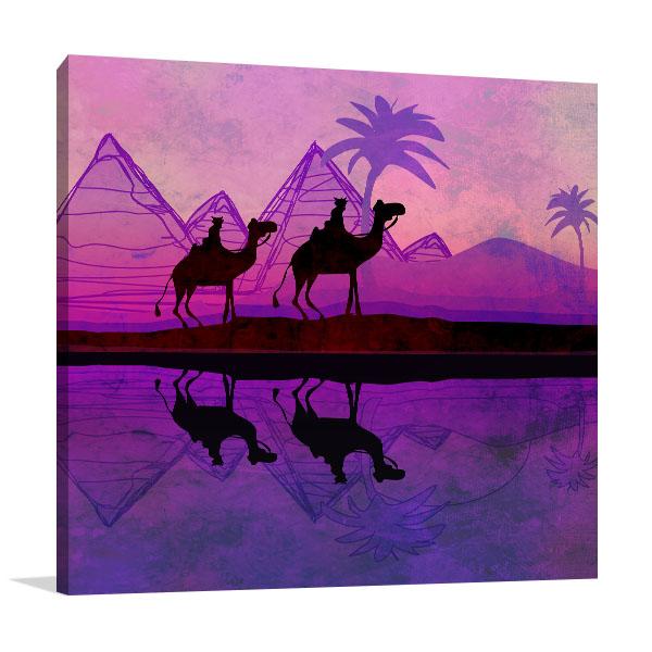 Purple Camel Train Print Artwork