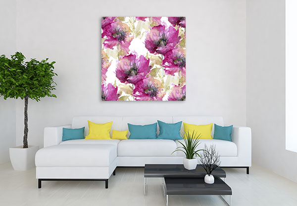 Purple Poppies Prints Canvas