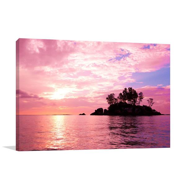 Purple Sunset Coast Sea Art Prints