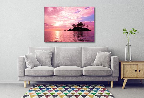 Purple Sunset Coast Sea Canvas Prints