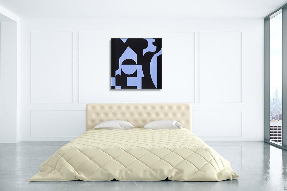 Blue Black Art Shapes Print
