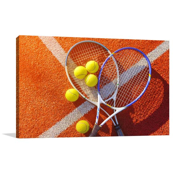 Racket and Tennis Ball Prints Canvas