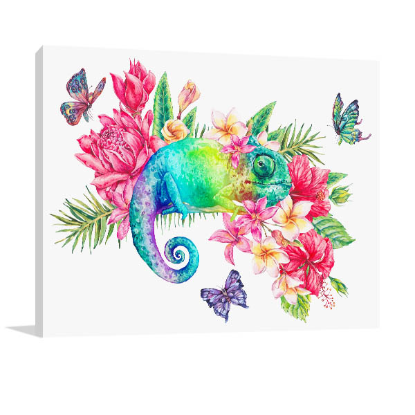 Rainbow Chameleon Print Artwork