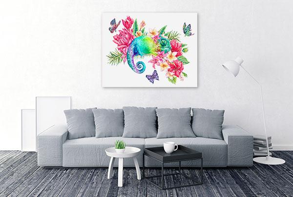 Rainbow Chameleon Canvas Prints
