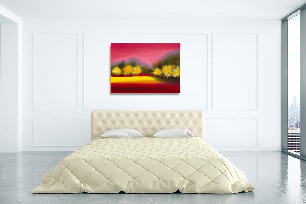 Yellow Abstract Trees Canvas Art