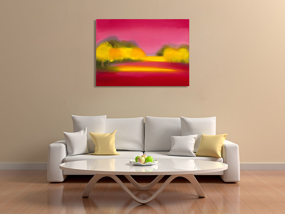 Pink Forest Art Print on Canvas