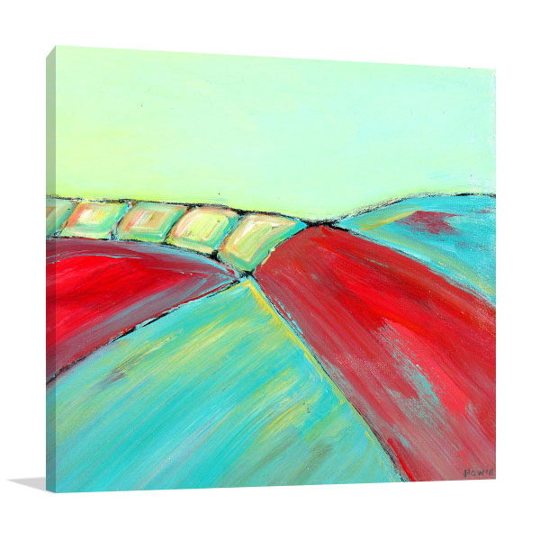 Brooke Howie | Red and Turquoise Abstract Landscape Art Prints