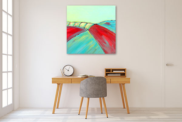 Brooke Howie | Red and Turquoise Abstract Landscape Canvas Art Prints