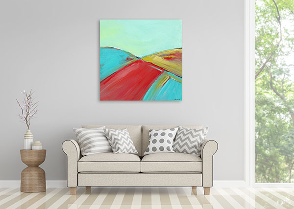 Brooke Howie | Red and Turquoise Landscape Canvas Arts