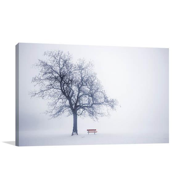 Red Bench In Fog Print Artwork