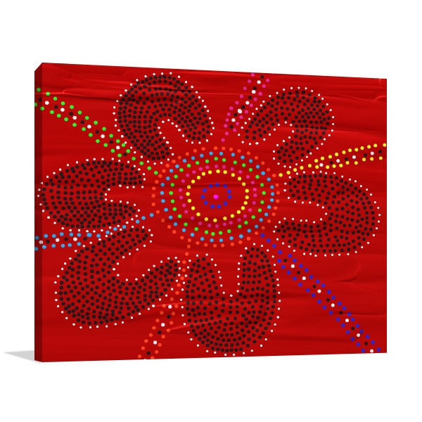 Red Black Flower Canvas Art Prints