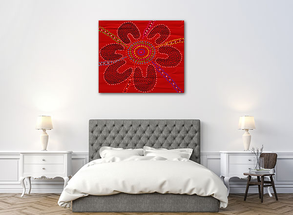 Red Black Flower Art Prints
