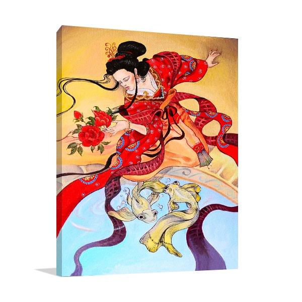 Red Kimono Print Artwork