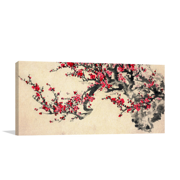 Red Plum Blossom Canvas Art