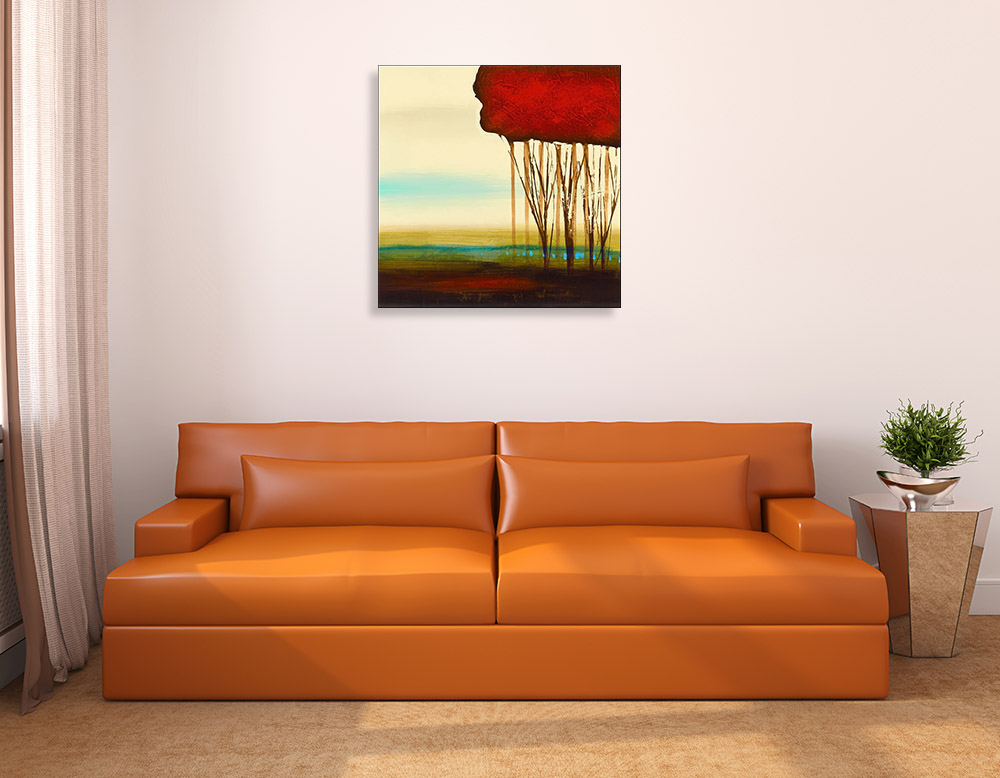 Abstract Red Trees Canvas Art