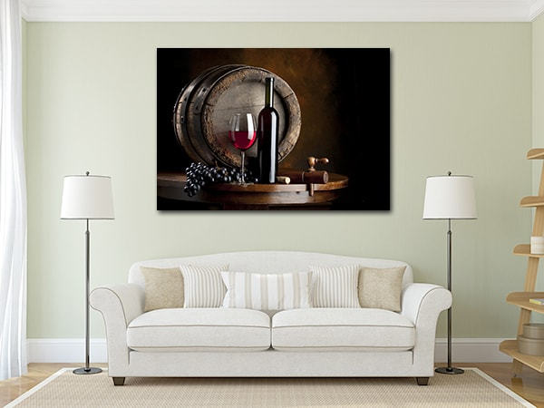 Red Wine Print Canvas on the Wall