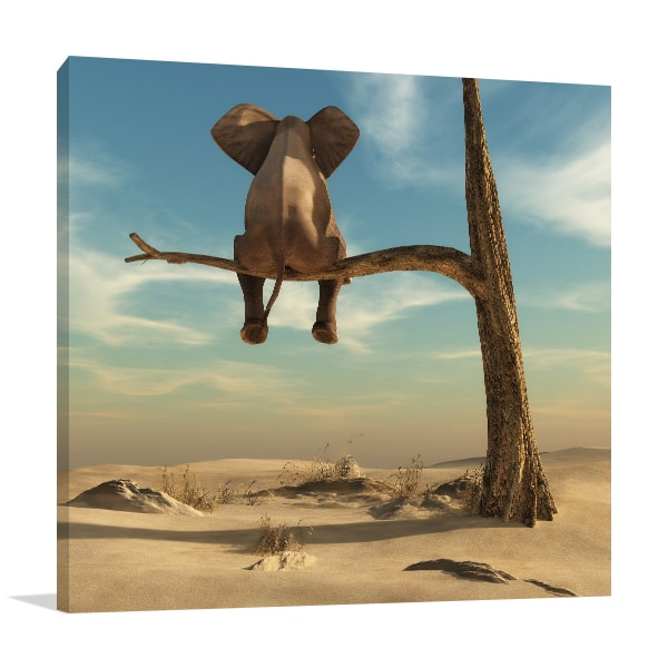 Resting Elephant Canvas Art Print