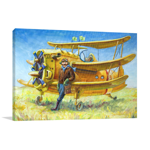 Retro Airplane Canvas Art