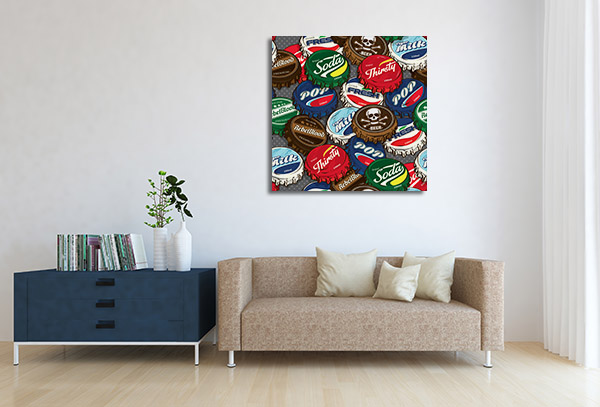 Retro Bottle Caps Artwork