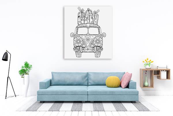 Retro Bus Print Artwork