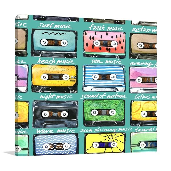 Retro Cassettes Canvas Art Prints