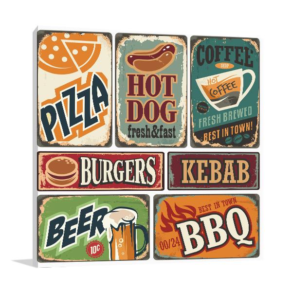 Retro Food Posters Print Artwork