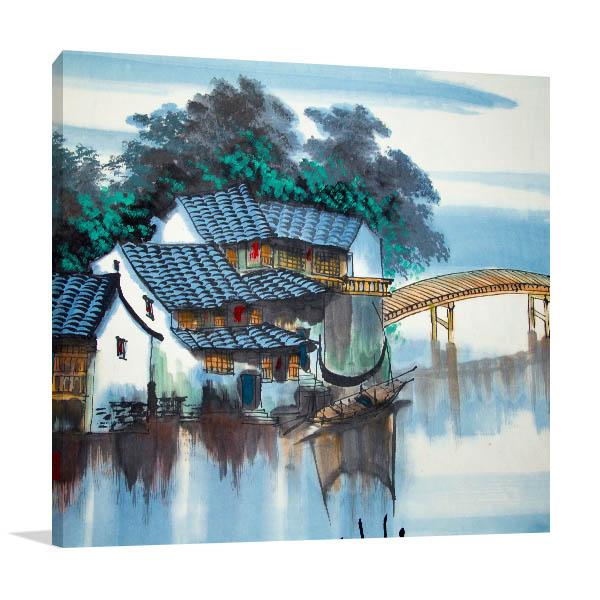 River and Bridge Prints Canvas