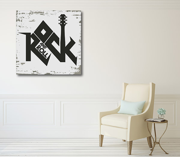 Rock and Roll Black Canvas Prints