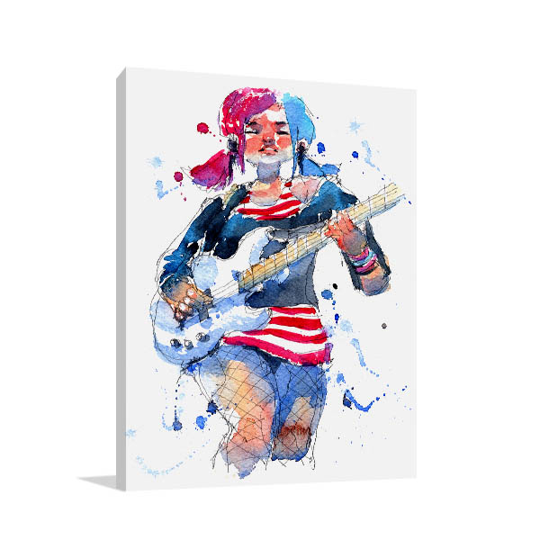 Rock Star Girl Canvas Art Prints