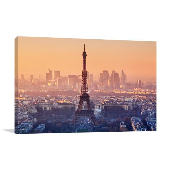 Romantic Sunset View of Paris Prints Canvas