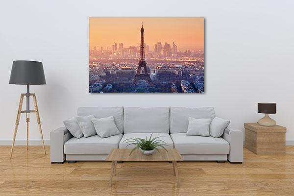 Romantic Sunset View of Paris Canvas Prints