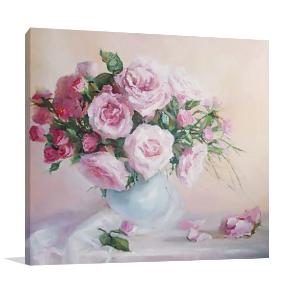 Rose Pink Flower Canvas Art