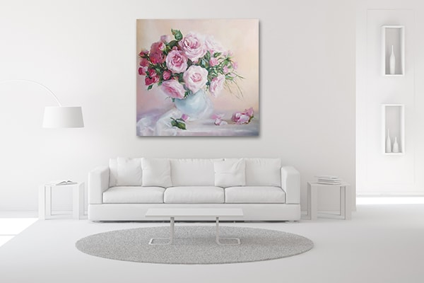 Rose Pink Flower Wall Art Print on the Wall