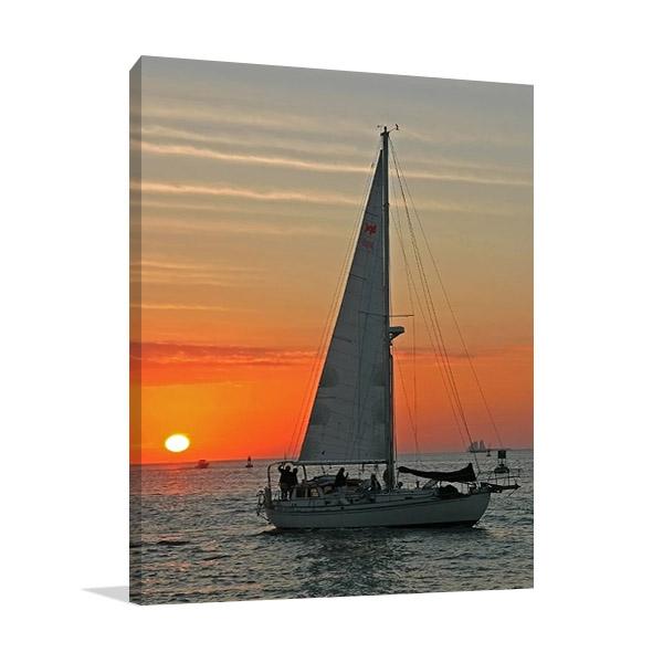Sailboat on Sunset Print on Canvas