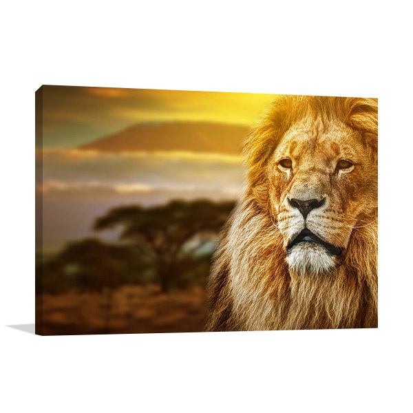 Savanna Lion Canvas Art Print