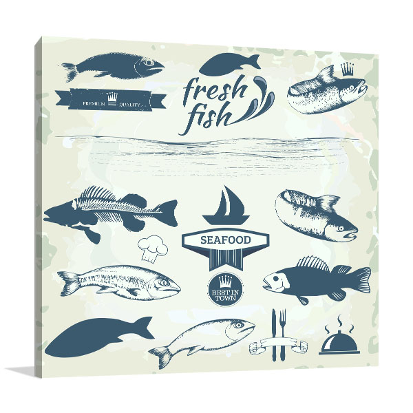 Seafood Labels Wall Art