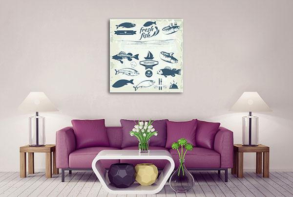 Seafood Labels Print Artwork